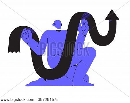 Abstract Blue Character Holding Growing Stat Or Data Black Arrow In Hands. Trendy Minimalistic Male