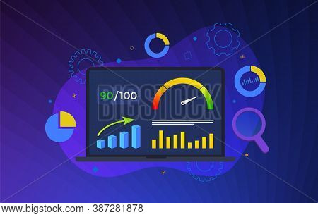Website Page Speed Optimization Vector Illustration. Loading Time Analysis - Site Speed Seo Services