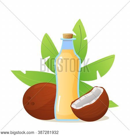 Coconut Oil In A Glass Bottle With Coco And Palm Leaves Isolated On White Background.