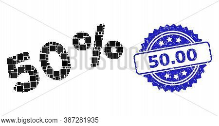 Vector Mosaic 50 Percents, And 50.00 Corroded Rosette Stamp Seal. Blue Stamp Seal Has 50.00 Tag Insi