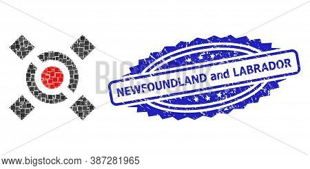 Vector Collage Central Link, And Newfoundland And Labrador Corroded Rosette Seal Imitation. Blue Sea