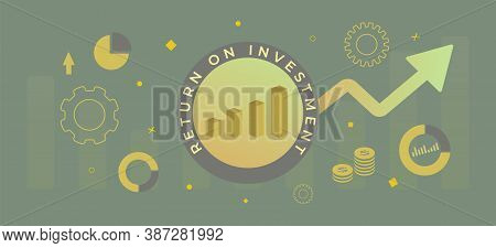 Roi - Return On Investment Business Horizontal Banner Concept. Market And Finance Growth Vision Stre