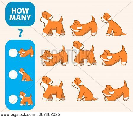 Count How Many Dogs Is Educational Game. Maths Task Development Of Logical Thinking Of Children.
