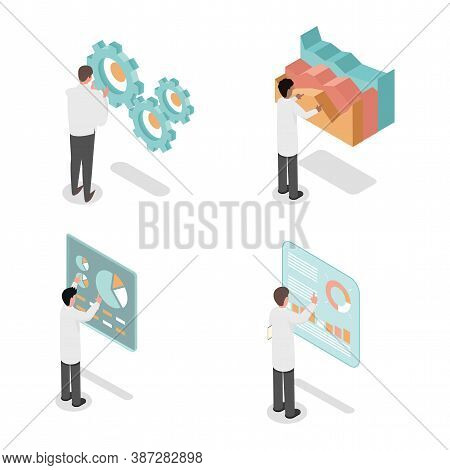 Young People Developing, Make Inventions And Analyzing Data Vector Isometric 3d Illustration Isolate