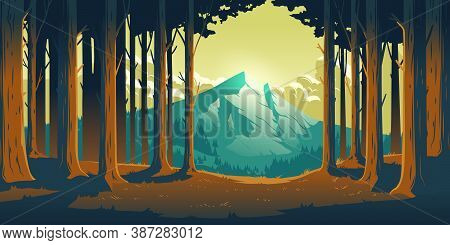 Cartoon Nature Landscape With Mountain In Forest Deciduous Trees Trunks Clearance. High Rock And Flu