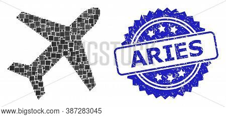 Vector Mosaic Airplane, And Aries Scratched Rosette Stamp Seal. Blue Stamp Seal Has Aries Title Insi