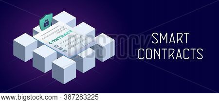 Smart Contract Horizontal Vector Concept. Cryptocurrency Blockchain Business Technology For Fast And