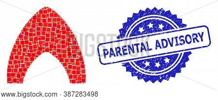 Vector Collage Fire, And Parental Advisory Dirty Rosette Seal Print. Blue Seal Includes Parental Adv