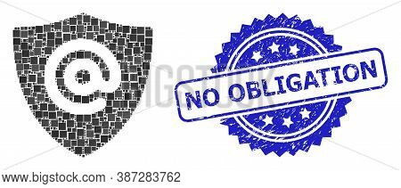 Vector Collage Email Address Shield, And No Obligation Grunge Rosette Stamp. Blue Stamp Has No Oblig