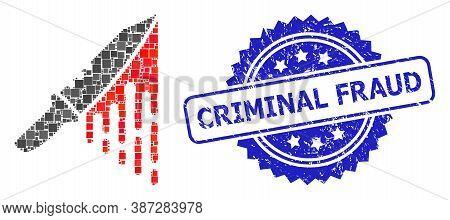 Vector Collage Blood Knife, And Criminal Fraud Grunge Rosette Seal Print. Blue Stamp Seal Has Crimin