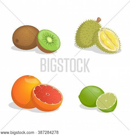 Kiwi, Durian, Grapefruit, And Lime Vector Cartoon Illustration Isolated On White Background. Fresh J