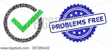 Vector Mosaic Accept Tick, And Problems Free Textured Rosette Stamp Seal. Blue Stamp Seal Has Proble