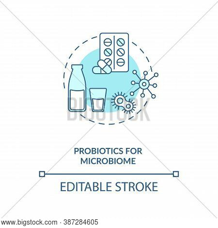 Probiotics For Microbiome Concept Icon. Needed Supplement Idea Thin Line Illustration. Probiotic Mil