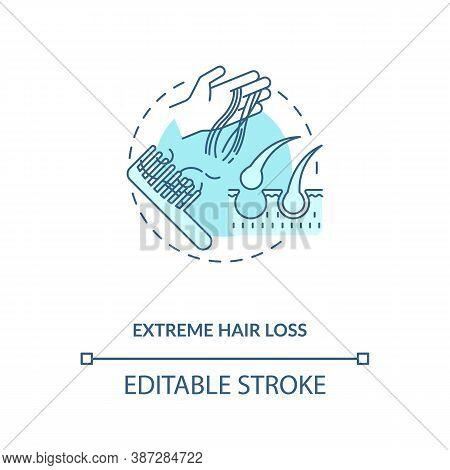 Extreme Hair Loss Concept Icon. Vitamin Shortages Symptom Idea Thin Line Illustration. Illness, Prot