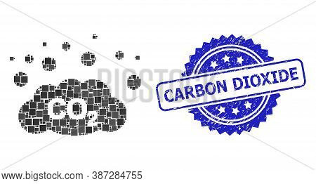 Vector Mosaic Co2 Gas Emission, And Carbon Dioxide Textured Rosette Seal Print. Blue Seal Has Carbon