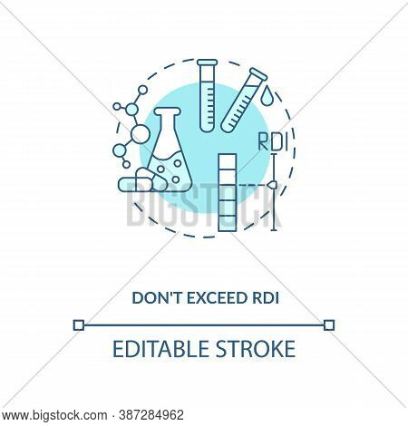 Rdi Excess Concept Icon. Adequate Vitamins Intake Idea Thin Line Illustration. Healthy Diet. Overdos