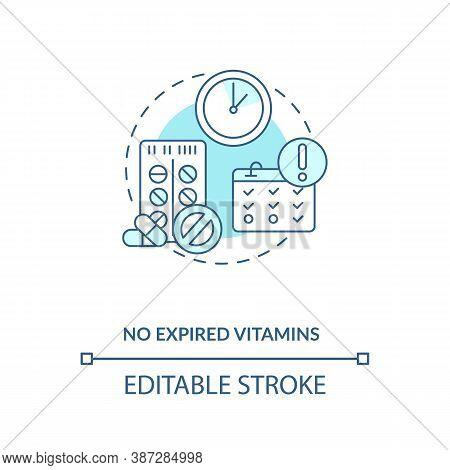 No Expired Vitamins Concept Icon. Adequate Vitamins Intake Idea Thin Line Illustration. Expiration D