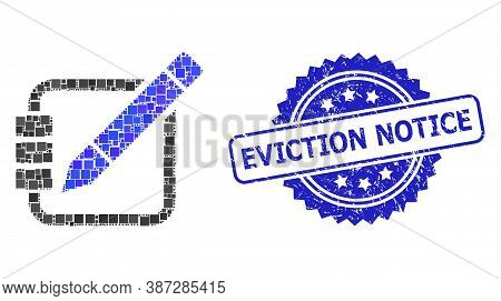 Vector Collage Edit Records, And Eviction Notice Dirty Rosette Stamp Seal. Blue Stamp Seal Has Evict