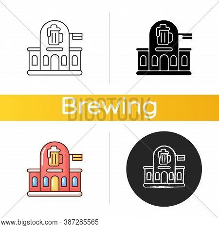 Pub Icon. Bar Front To Drink Ale. Beer Store. Alcoholic Beverage Shop. Brewery For Ale And Stout. Tr