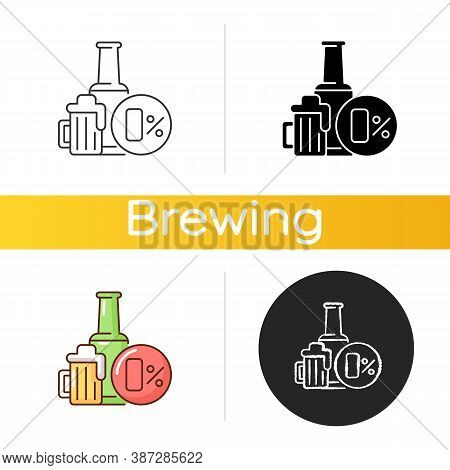 Non Alcoholic Beer Icon. Safe Drink. Bottled Spirit In Bar. Liquid In Pub Menu. No Level Of Alcohol