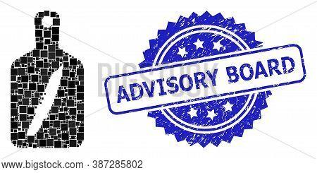 Vector Collage Cutting Board, And Advisory Board Rubber Rosette Seal. Blue Seal Includes Advisory Bo