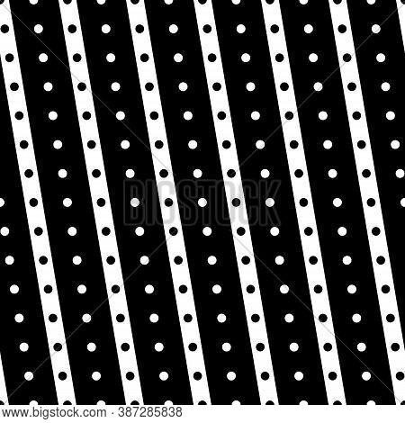 Diagonal Lines, Dots Seamless Pattern. Linear Motif. Angled Stripes Ornament. Pinstripes Print. Stri