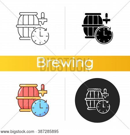Barrel Aged Beer Icon. Brewery Product. Ale In Distillery. Viticulture Keg. Winemaking Business. Oak