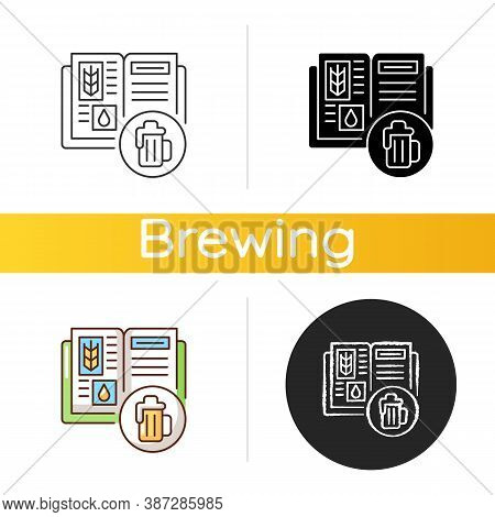 Beer Recipe Icon. Brewery Production. Lager In Bar Menu. Cookbook For Beverage. Ingredients For Alco