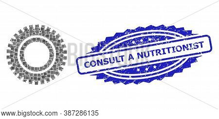 Vector Collage Clock Gear, And Consult A Nutritionist Rubber Rosette Stamp. Blue Stamp Seal Contains