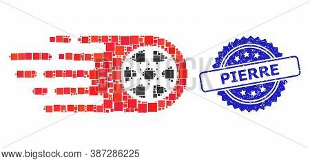Vector Collage Bolide Wheel, And Pierre Textured Rosette Stamp Seal. Blue Stamp Seal Contains Pierre