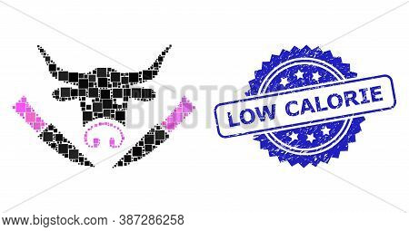 Vector Collage Cow Butchery, And Low Calorie Corroded Rosette Seal Imitation. Blue Stamp Seal Includ