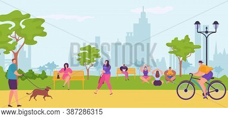 People In City Park, Walking, Bicycling, Sitting On Bench, Doing Yoga Vector Illustration. Urban Cit