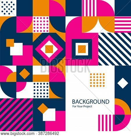 Vintage Swiss Graphic, Geometric Square Vector Colorful Bauhaus Shape. Vector Poster In Minimal Mode