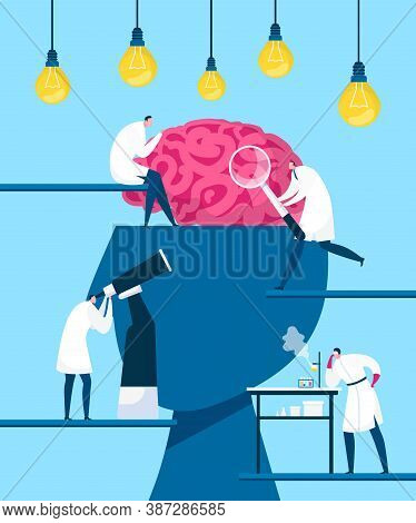 Brain Searching Idea, Discovery Vector Illustration. Intelligence And Creativity, Innovation. Scient