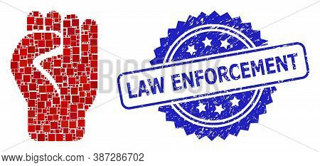 Vector Collage Clenched Fist, And Law Enforcement Corroded Rosette Stamp Seal. Blue Stamp Seal Inclu