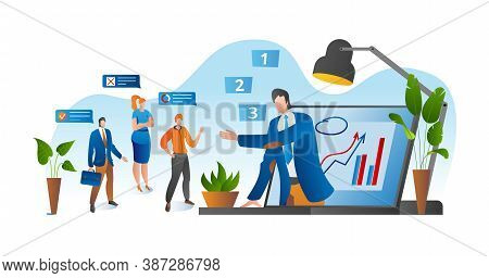 Online Conference, Business Video Meeting, Task Vector Illustration. Businessman On Computer Screen