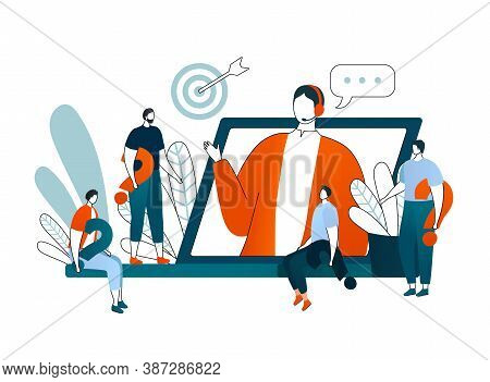 Online Consultation, Vector Illustration. Video Conference. Businesswoman Online Consulting. Telecom