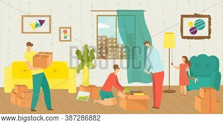 People Moving House Vector Illustration Of Happy Family Packing Things Into Boxes For New House Move