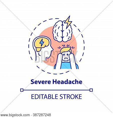 Severe Headache Concept Icon. Migraine Pain. Suffer From Tension In Head. Hurt From Stress. Brain He