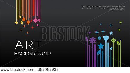 Minimalistic Art Background. Illustration Of Colored Art Objects On A Dark Background. Template For