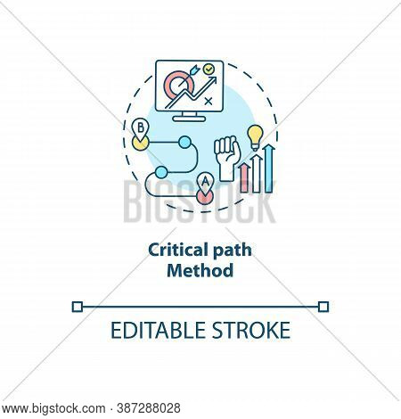 Critical Path Method Concept Icon. Software Structure Idea Thin Line Illustration. Critical Path Ana