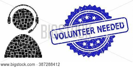Vector Collage Call Center Operator, And Volunteer Needed Dirty Rosette Stamp. Blue Stamp Seal Inclu