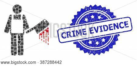 Vector Mosaic Bloody Butcher, And Crime Evidence Dirty Rosette Seal Print. Blue Seal Contains Crime