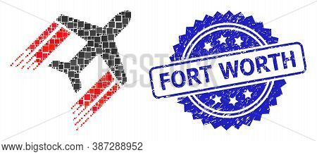Vector Mosaic Aviation, And Fort Worth Dirty Rosette Stamp Seal. Blue Stamp Seal Includes Fort Worth