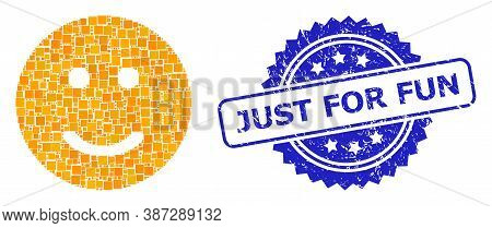 Vector Mosaic Glad Smiley, And Just For Fun Dirty Rosette Seal Imitation. Blue Stamp Seal Contains J