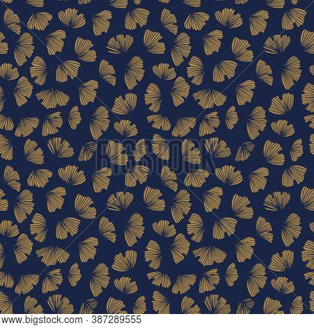 Gingko Seamless Vector Pattern. Blue China Background. Gold Ginko Leaves Silhouette Pattern. Floral