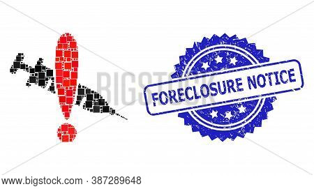 Vector Collage Danger Vaccine, And Foreclosure Notice Corroded Rosette Stamp Seal. Blue Stamp Has Fo