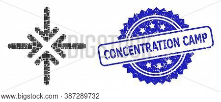 Vector Mosaic Collapse Arrows, And Concentration Camp Textured Rosette Stamp Seal. Blue Stamp Seal I