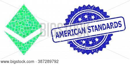 Vector Collage Crystal, And American Standards Corroded Rosette Stamp Seal. Blue Seal Contains Ameri
