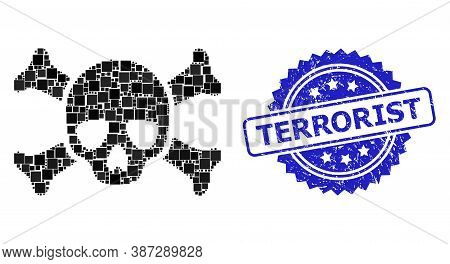 Vector Mosaic Death Skull, And Terrorist Textured Rosette Seal Imitation. Blue Stamp Seal Includes T